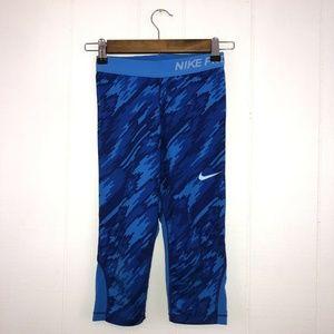 Nike Pro Dri Fit Girls Leggings Cropped Blue M